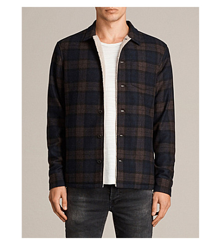 ALLSAINTS Forge relaxed-fit wool-blend shirt (Navy/brown