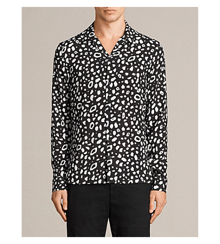 ALLSAINTS Panther printed woven shirt (Black/chalk