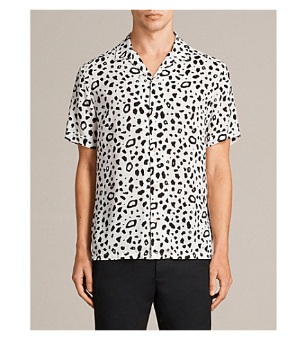 ALLSAINTS 豹修身版型针织衫 (粉笔 + 白