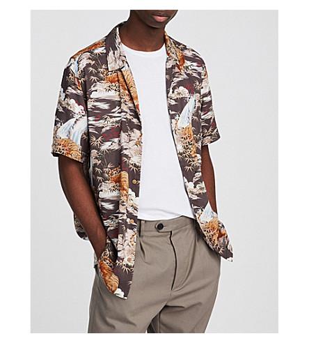 ALLSAINTS Sumatra printed woven shirt (Coal+grey