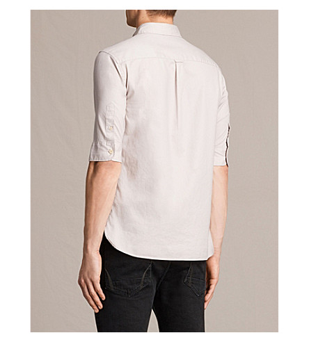ALLSAINTS Redondo slim-fit cotton shirt (Ash+pink