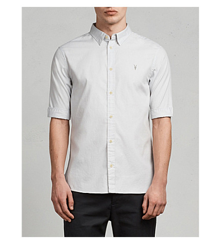 ALLSAINTS Redondo slim-fit cotton shirt (Celest+blue