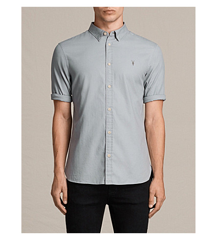 ALLSAINTS Redondo slim-fit cotton shirt (Chrome+blue