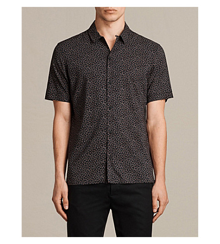 ALLSAINTS Akaw slim-fit cotton-blend shirt (Washed+black