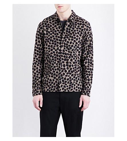 ALLSAINTS Olive regular-fit brushed-cotton shirt (Olive