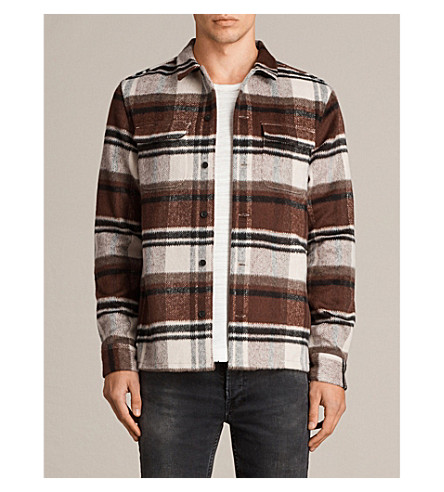 ALLSAINTS Deacon regular-fit flannel shirt (Ecru+white/red