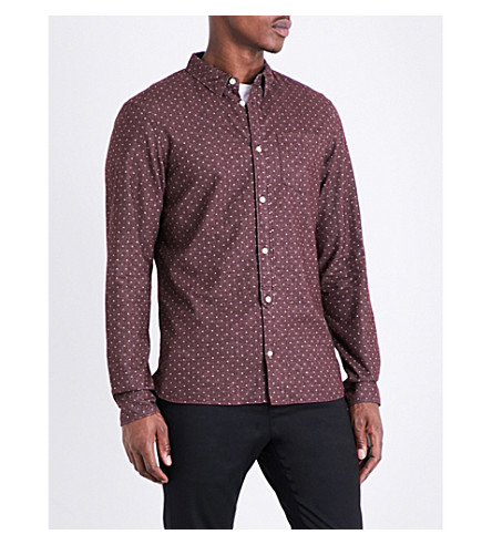 ALLSAINTS Cresco spotted brushed cotton shirt (Damson