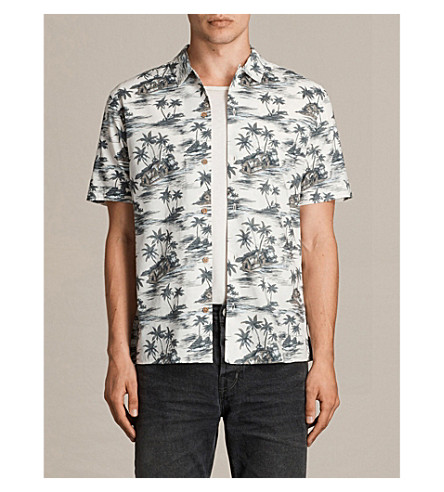 ALLSAINTS Marooned slim-fit Hawaiian print shirt (Ecru+white