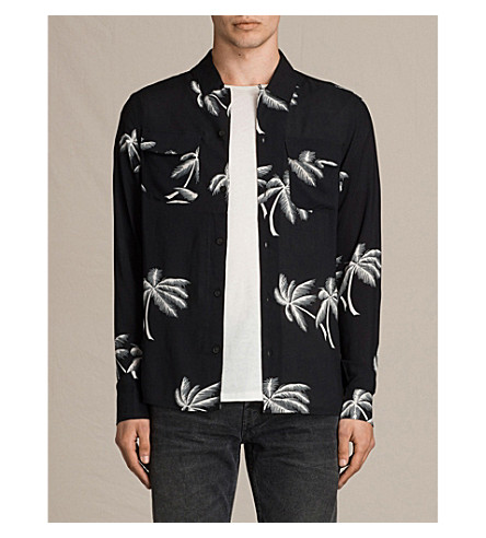 ALLSAINTS Offshore woven slim-fit printed shirt (Black
