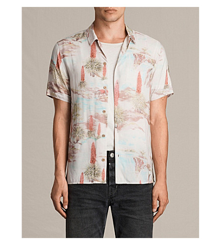 ALLSAINTS Dreamscape slim-fit printed shirt (Ecru+white