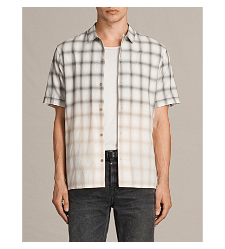 ALLSAINTS Caldwell slim-fit cotton shirt (Ecru+white