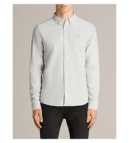 ALLSAINTS Berwick slim-fit striped cotton shirt (Grey/white