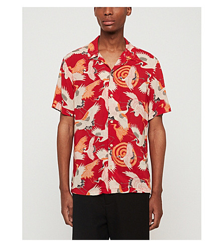 ALLSAINTS Hawaiian Shirt Project Tsuru regular-fit poplin shirt (Red