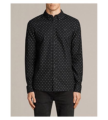ALLSAINTS Fairfield polka-dot-print slim-fit cotton shirt (Black/ecru