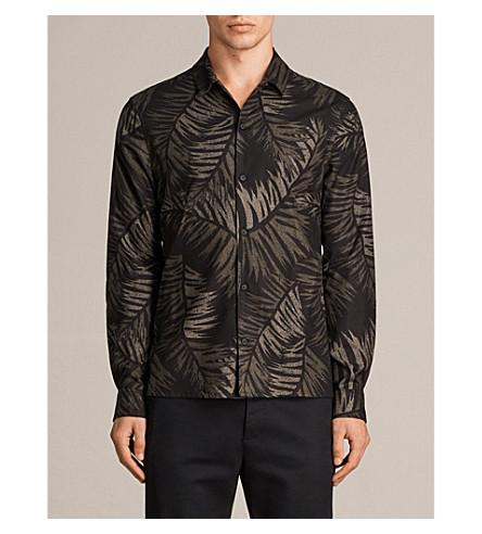 ALLSAINTS Hawi leaf-print slim-fit cotton-blend shirt (Khaki