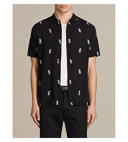 ALLSAINTS Pineapple-print crepe shirt (Black