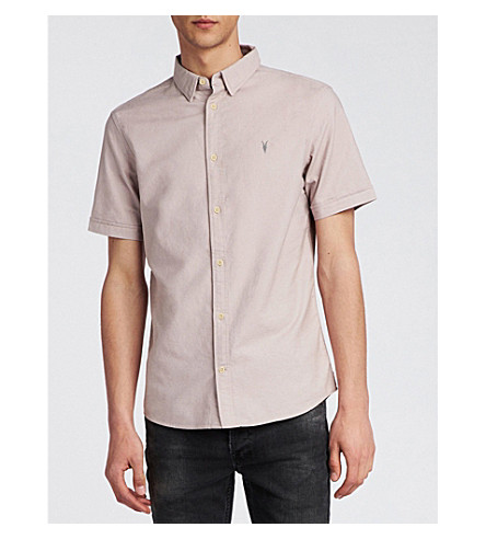 ALLSAINTS Hungtingdon embroidered cotton shirt (Boca+pink