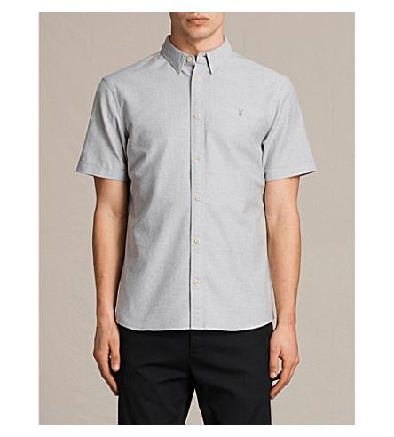 ALLSAINTS Hungtingdon embroidered cotton shirt (Dark+gull+grey
