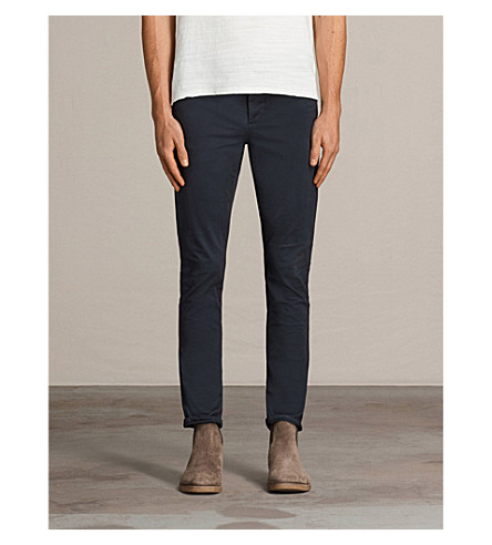 ALLSAINTS Park stretch-cotton chinos (Airforce+blue