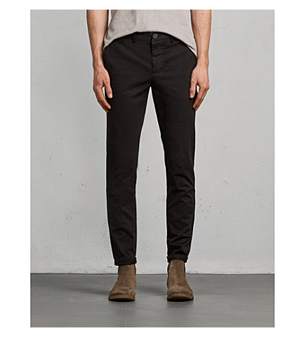 ALLSAINTS Felix slim-fit stretch-cotton chinos (Black