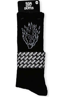 SLAM CITY SKATES Flame head socks