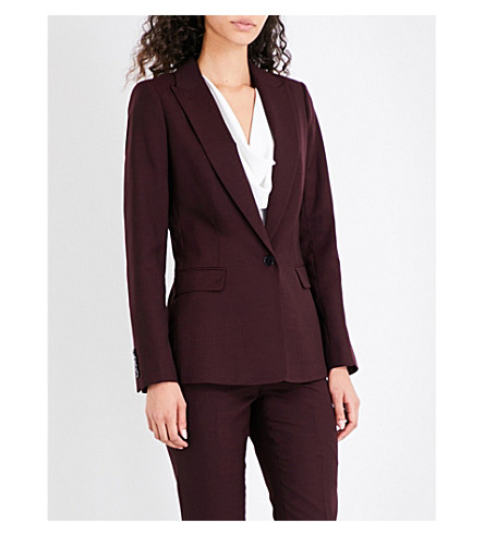 REISS Atlee wool-blend jacket (Berry