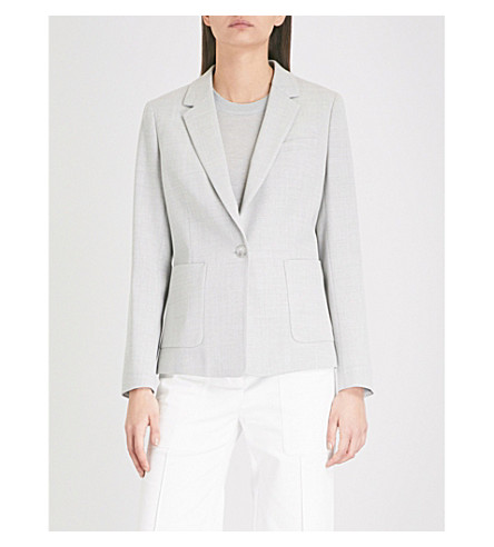 REISS Haven tailored-fit stretch-wool jacket (Grey