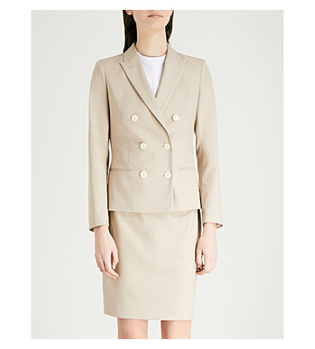 REISS Maddox double-breasted twill jacket (Camel