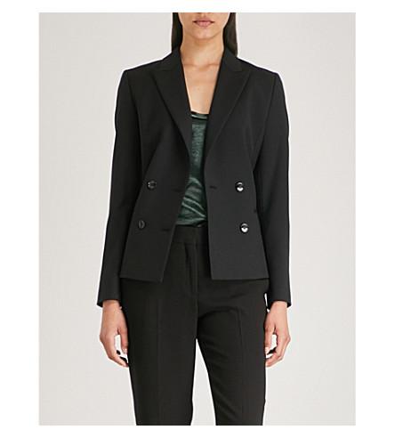 REISS Huxley double-breasted wool-blend jacket (Black
