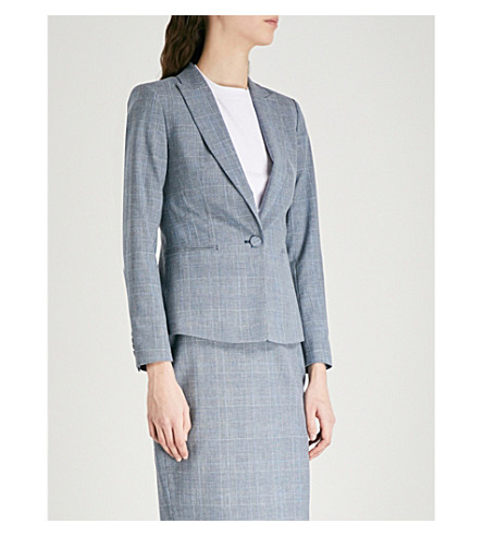 REISS Chelton checked tailored-fit wool-blend jacket (Blue