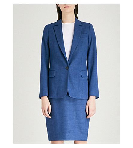 REISS Malani tailored-fit stretch-wool jacket (Bright+blue