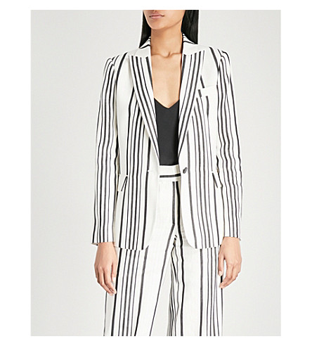 jacket striped REISS linen Rodeo blend REISS Rodeo White black YZxt54q