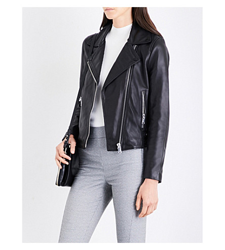 REISS Ally biker-collar leather jacket (Black