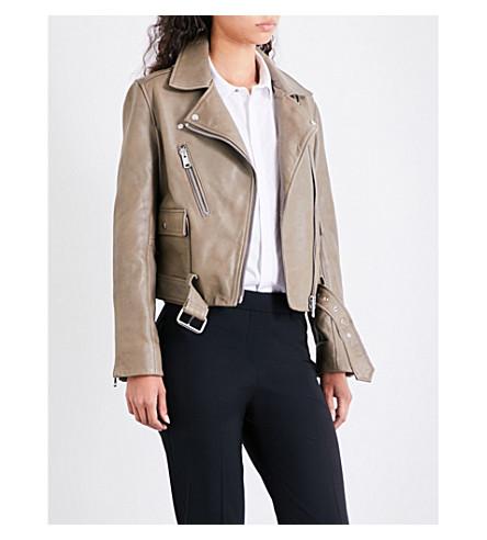 REISS Kate biker-collar leather jacket (Khaki