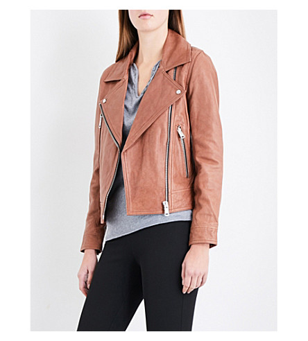 REISS Torre biker-collar leather jacket (Tan