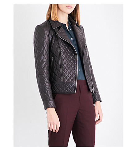 REISS Amie quilted leather jacket (Chocolate