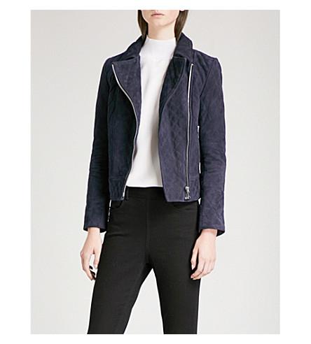 REISS Amie quilted suede jacket (Indigo