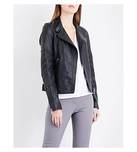 REISS Taylor collarless leather jacket (Black