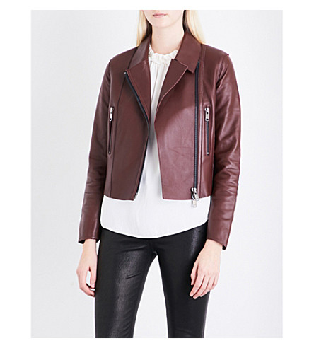 REISS Remi leather biker jacket (Ox+blood