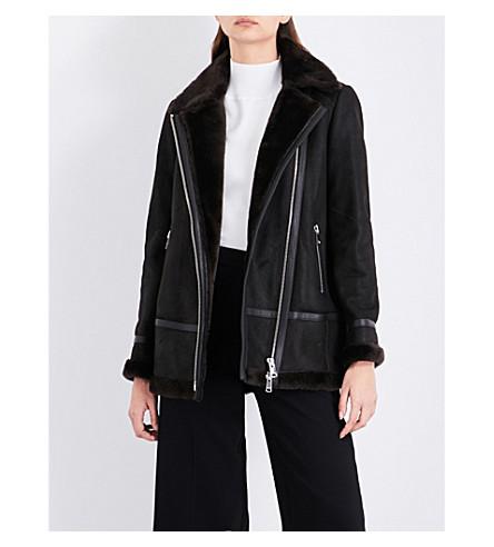 REISS Mella longline shearling coat (Chocolate