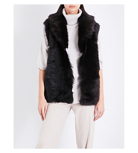 REISS Lille reversible shearling gilet (Chocolate