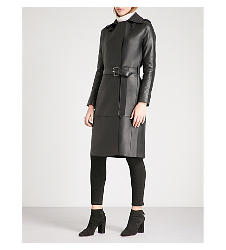 REISS Emmerson leather trench coat (Black