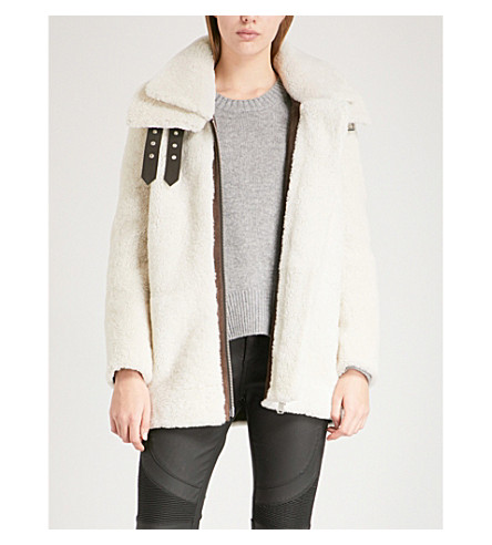 REISS Isabelle shearling jacket (Neutral