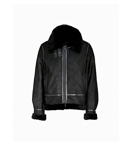 REISS Arla shearling jacket (Black