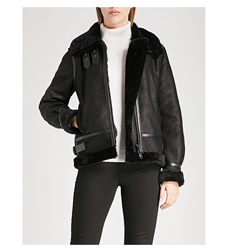 REISS Arla shearling jacket (Black