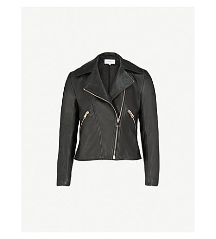 REISS Drew leather biker jacket (Black