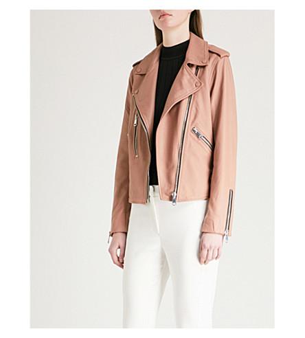 REISS Marlowe leather biker jacket (Pink
