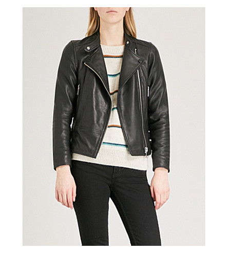 REISS Letty collarless leather biker jacket (Black