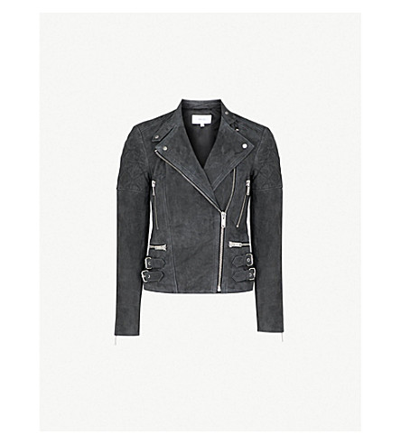 REISS Laurie collarless suede biker jacket (Charcoal