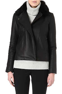 REISS Harpery sheepskin collar leather jacket